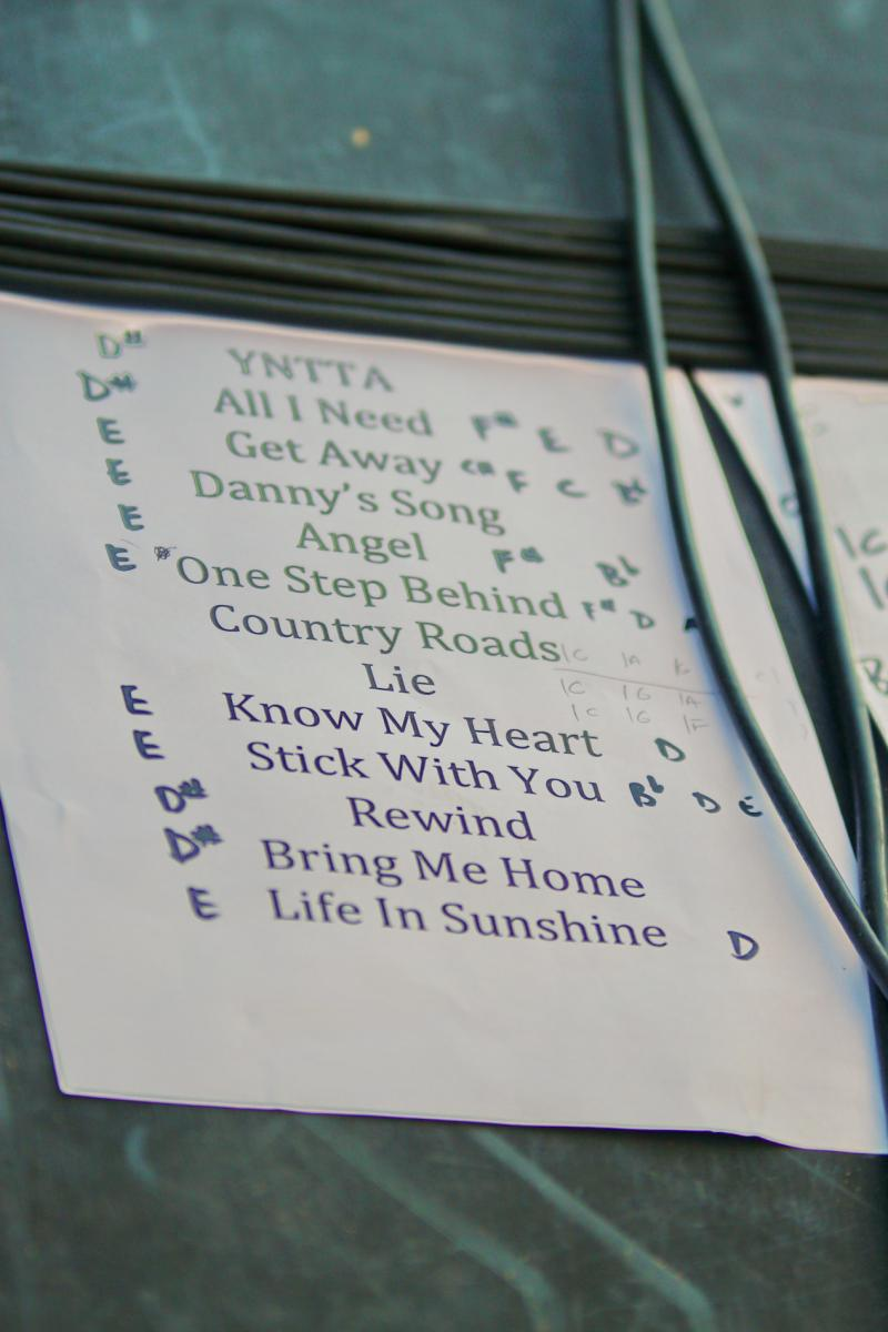 Jamie McDell Set List - Music In Parks - Luckens Reserve - March '13