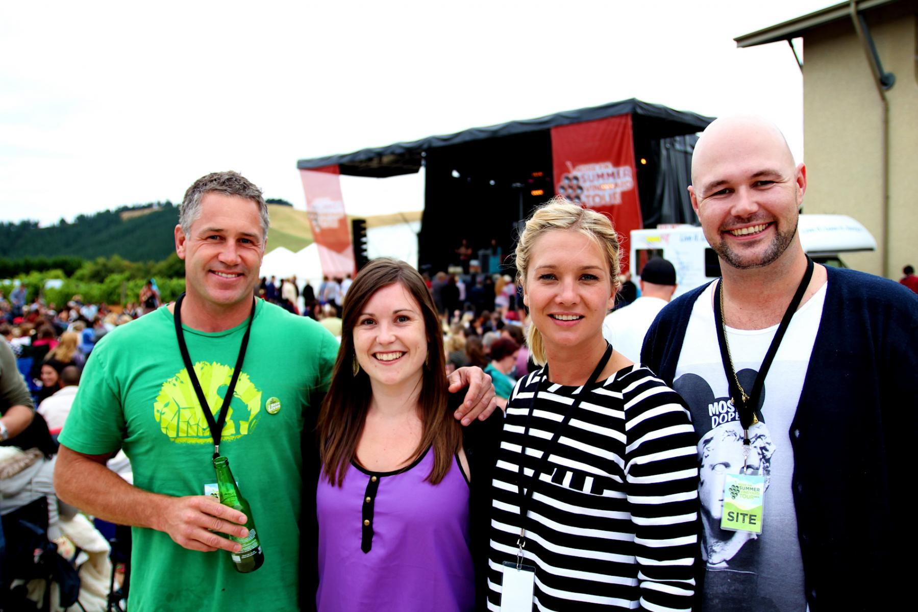 Marc, Hayley and  Stu with a fan - More FM Summer Vineyard Tour - Feb 2013